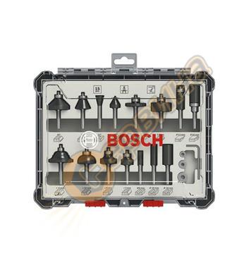 Комплект фрезери за дърво 6мм Bosch 2607017471 - 15 бр