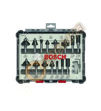 Комплект фрезери за дърво 8мм Bosch 2607017472 - 15 бр