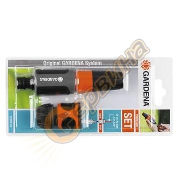 Комплект струйник и съединител със стоп клапан Gardena Stop