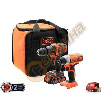 Комплект акумулаторни инструменти Black&Decker BCK21S1S 18V