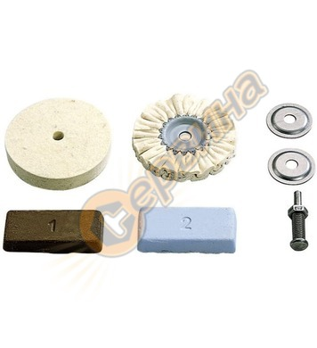 Комплект памучен дорник и диск заполиране Wolfcraft 2178000