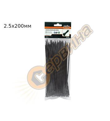 Кабелни превръзки - черни  Prmiumfix  200x2.5мм 42566 - 5пак