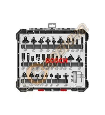 Комплект фрезери за дърво Bosch 2607017474 ф6мм - 30 части