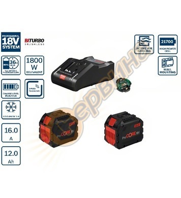 Стартов комплект Bosch 2x ProCORE18V 12,0Ah + GAL 18V-160 C