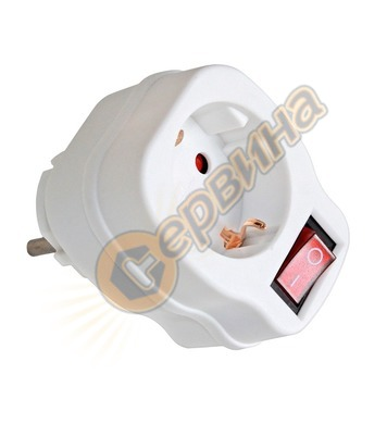 Адаптер  с ключ Commel C240-301 - 1 х шуко, бял