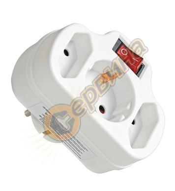Адаптер с ключ Commel C240-303 - 2 х ЕВРО и 1 х шуко, бял