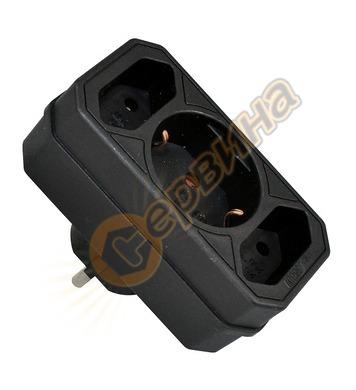 Адаптер Commel C49112-2 - 2 х ЕВРО и 1 х шуко, черен