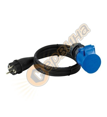 Адаптер с кабел Commel C221-202 - шуко към СЕЕ, 1,5 м, черен
