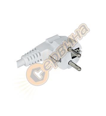 Захранващ кабел Commel C0512 - ъглов щепсел, 1,5 м, бял