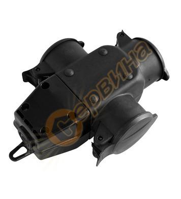 Куплунг Commel C240-501 - 3 х шуко, черен, гумиран
