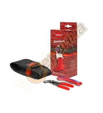Коледен комплект клещи и нож с калъф Knipex 002072S6