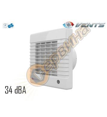 Вентилатор Vents 100-125 MA с автоматични жалузи квадрат без