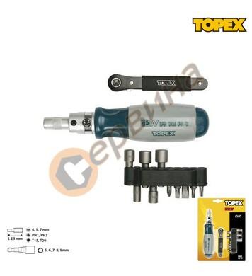 Отвертка с тресчотка и накрайници Topex 39D510 - 13бр.