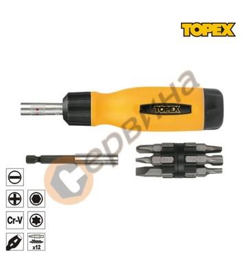 Отвертка тресчотна с накрайници Topex 39D518 - 14бр.