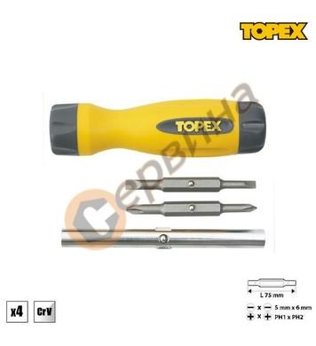 Отвертка с накрайници Topex 39D516 - 4бр.